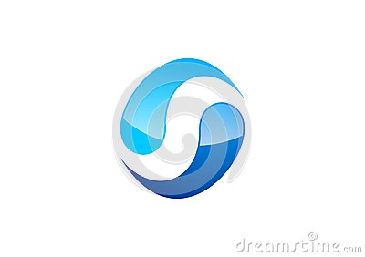 Circle,water,logo,wind,sphere,abstract,letter S,company,corporation Vector Illustration