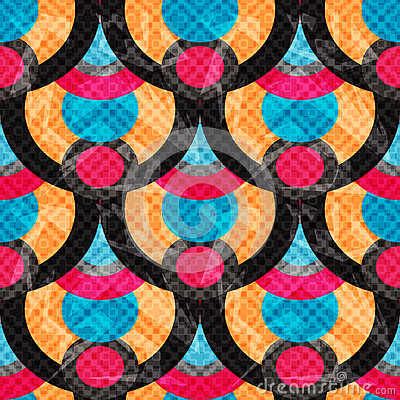 Free Circles And Lines Abstract Geometric Background Seamless Pattern Vector Illustration Grunge Effect Royalty Free Stock Photo - 61396985