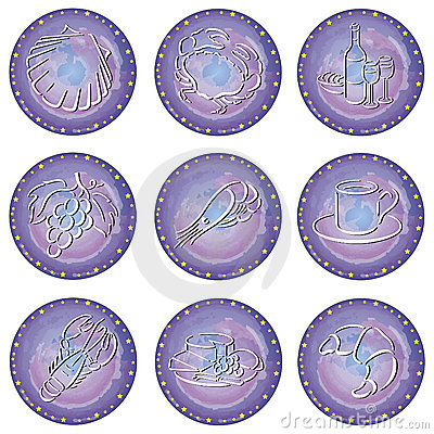 Circles with food symbols