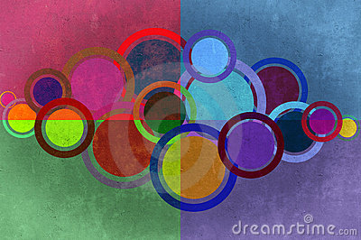 Circles and rectangles grunge background. Stock Photo