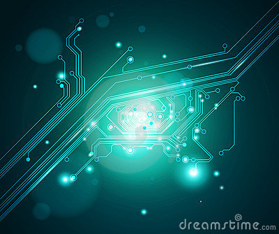 Circuit board eye conceptual background - vector