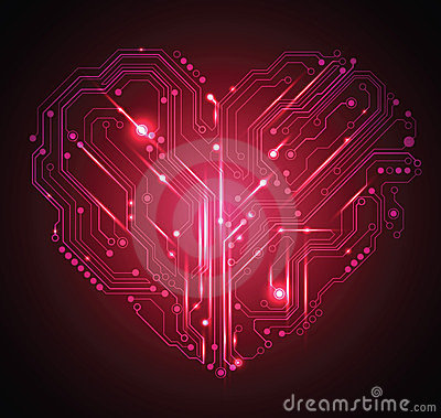 Free Circuit Board Heart Background Stock Image - 23929991