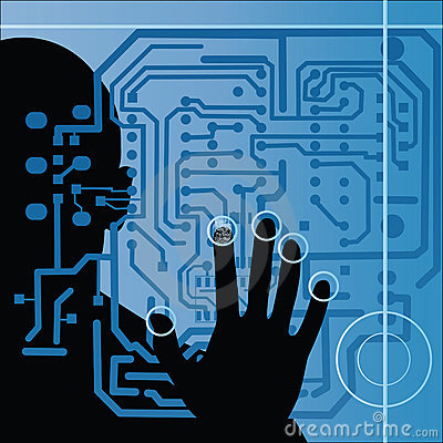 Circuit board with human silhouette and hand