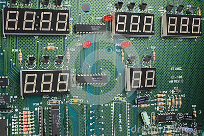 Circuit Board with Seven Segment Displays