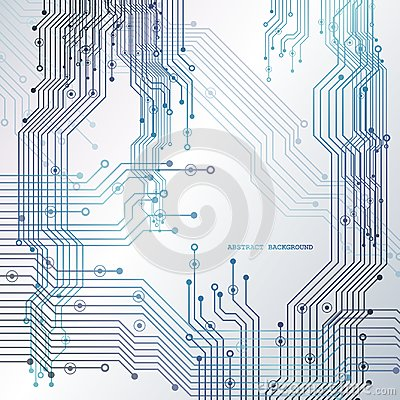 Circuit board, technology background. Vector illustration. Cartoon Illustration