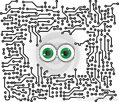 Circuit board vector background with funny eyes
