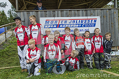 Circuit championship in bmx cycling, Aremark and Halden BMX team Editorial Stock Photo