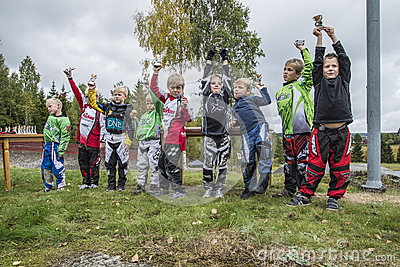 Circuit championship in bmx cycling, from the awards ceremony Editorial Stock Photo