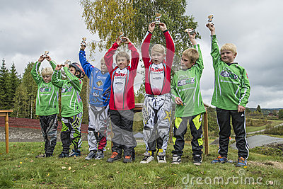 Circuit championship in bmx cycling, from the awards ceremony Editorial Photography