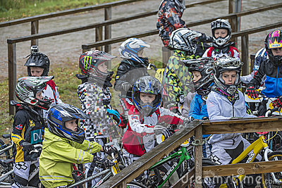 Circuit championship in bmx cycling, excited faces just before t