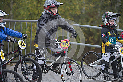 Circuit championship in bmx cycling, just before the start Editorial Image