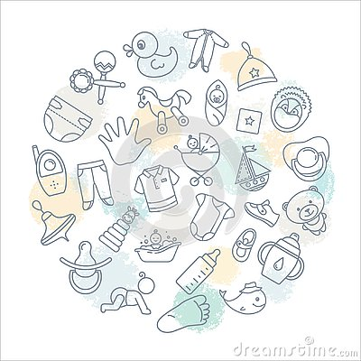 Circular background of children themes with toys, clothes and other elements on the theme of children Stock Photo