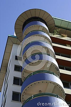 Circular balconies on building