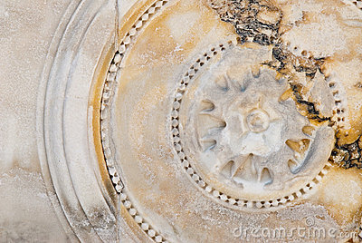 Circular bas-relief on marble