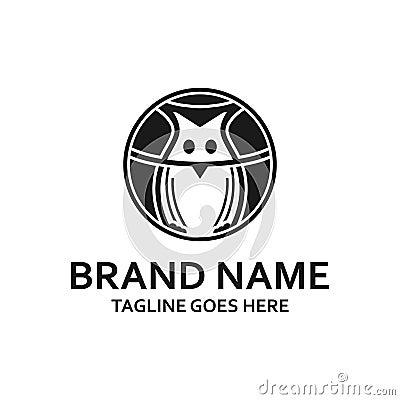 Circular black owl logo Stock Photo