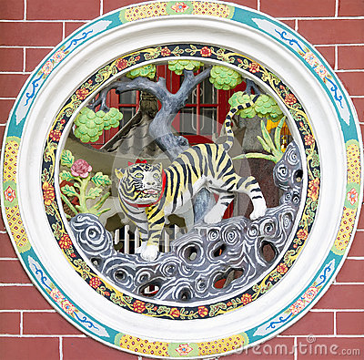 Circular Chinese Temple Tiger Wall Carving