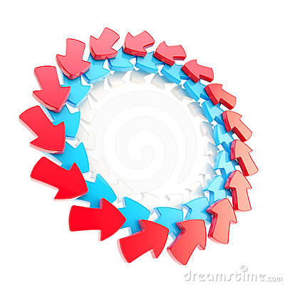 Circular frame made of arrows isolated