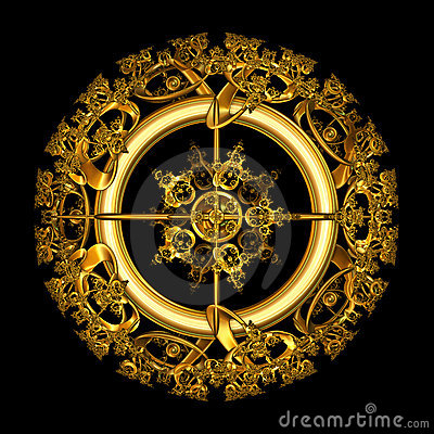 Circular Gold Filigree over black background