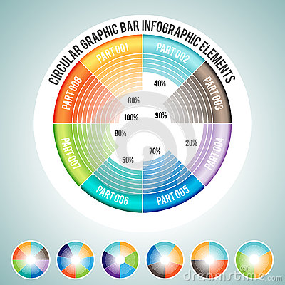 Circular Graphic Bar Infographic Elements