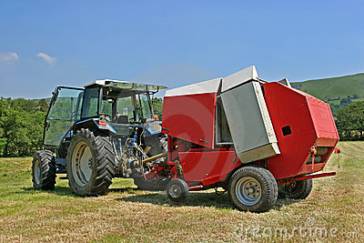 Circular Hay Baler and Tractor