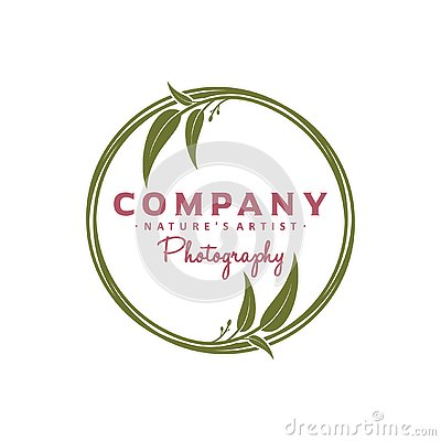 Circular leaf logo design Stock Photo