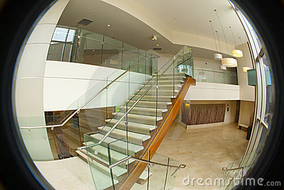Circular office building lobby
