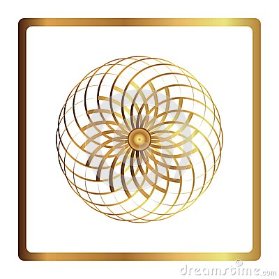 Free Circular Pattern. Geometric Icon. Gold Flower Symbol On Black Background. Modern Style. Vector Illustration. Simple Symbol. Mandal Royalty Free Stock Images - 87306019