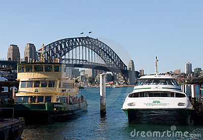Circular Quay and Sydney Harbour Bridge Editorial Stock Photo