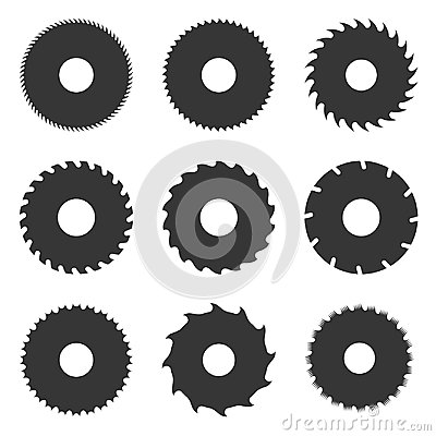 Circular Saw Blades Set. Vector Vector Illustration