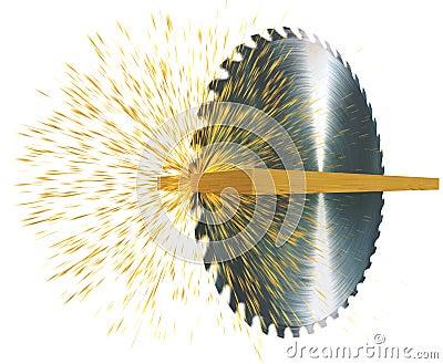 Circular saw cuts wood