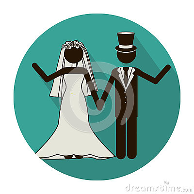 Free Circular Shape Pictogram Of Wedding Couple Greeting With Costumes Royalty Free Stock Photography - 85218167
