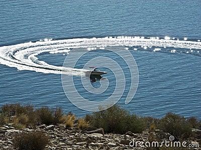 Circular wake from a boat