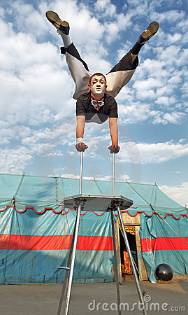 Circus acrobat with a plastic body