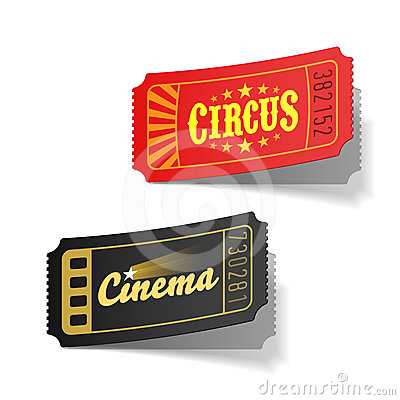 Free Circus And Cinema Tickets Royalty Free Stock Images - 24392219