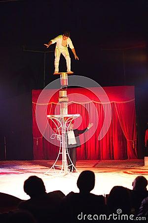 Circus artist balance act Editorial Photography