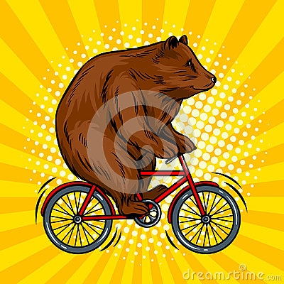 Free Circus Bear On Bicycle Pop Art Vector Illustration Stock Photography - 95029442