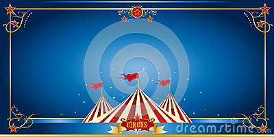 Circus blue invitation