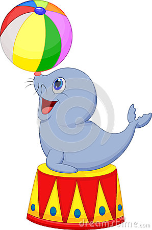 Circus cartoon seal playing a ball