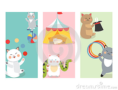 Circus cats cards vector cheerful illustration for kids with little domestic cartoon animals playing mammal Vector Illustration