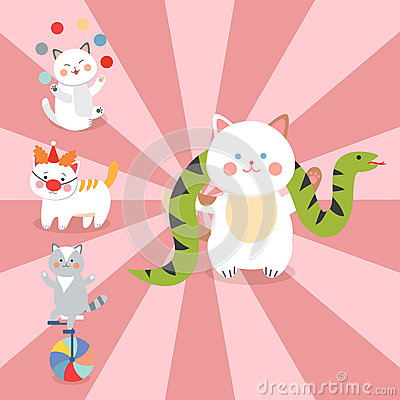 Circus cats vector cheerful illustration for kids with little domestic cartoon animals playing mammal Vector Illustration