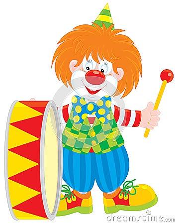 Circus clown drummer