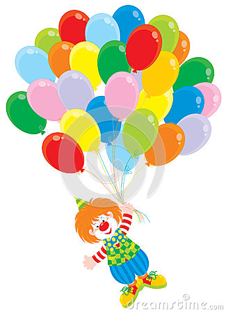 Circus clown flies with balloons