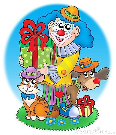 Circus clown with pets