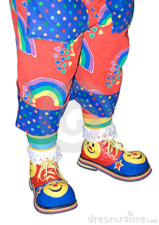 Circus Clown Shoes and Pants Isolated Detail