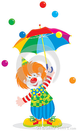 Circus clown with an umbrella