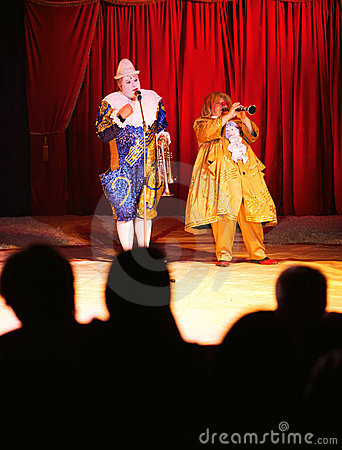 Circus clowns on stage Editorial Photo