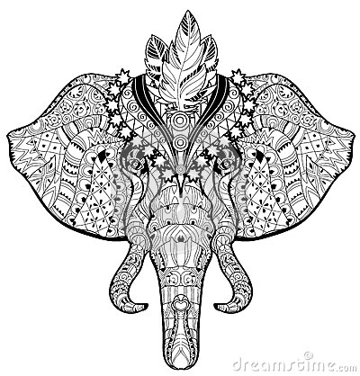 Circus Elephant Head Doodle On White Sketch Stock Vector