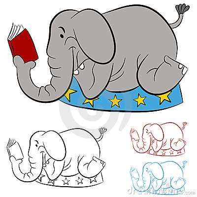 Circus Elephant Reading a Book