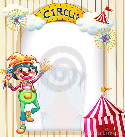 A circus entrance with a clown