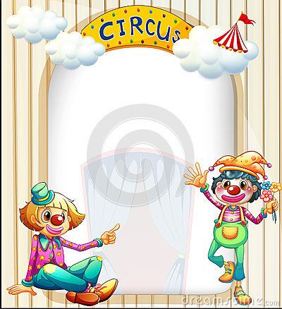 A circus entrance with a male and a female clown